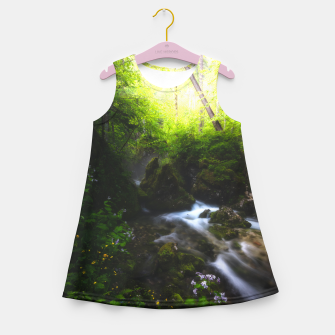 Thumbnail image of Spring flowers in enchanted river forest Girl's summer dress, Live Heroes