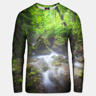 Miniaturka River flowing through enchanted green forest Unisex sweater, Live Heroes