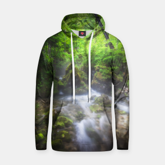 Miniaturka River flowing through enchanted green forest Hoodie, Live Heroes