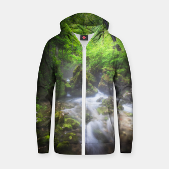 Miniaturka River flowing through enchanted green forest Zip up hoodie, Live Heroes