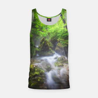 Miniaturka River flowing through enchanted green forest Tank Top, Live Heroes