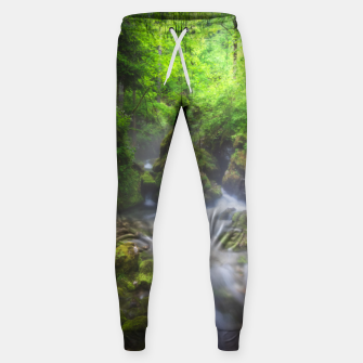 Miniaturka River flowing through enchanted green forest Sweatpants, Live Heroes