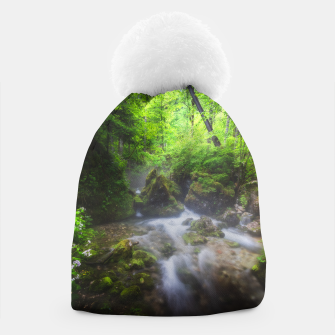 Miniaturka River flowing through enchanted green forest Beanie, Live Heroes