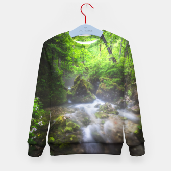 Miniaturka River flowing through enchanted green forest Kid's sweater, Live Heroes