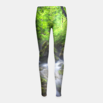Miniaturka River flowing through enchanted green forest Girl's leggings, Live Heroes