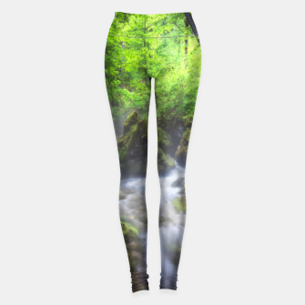 Miniaturka River flowing through enchanted green forest Leggings, Live Heroes