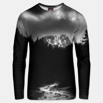 Thumbnail image of Dramatic landscape of mountains and river Unisex sweater, Live Heroes