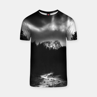 Miniaturka Dramatic landscape of mountains and river T-shirt, Live Heroes