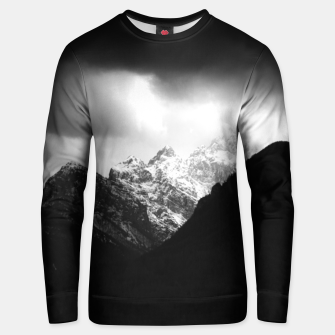 Thumbnail image of Storm clouds and sun over mountains Unisex sweater, Live Heroes