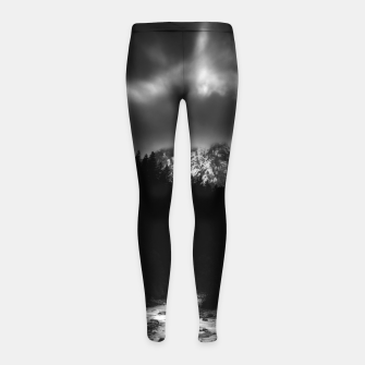 Thumbnail image of Dramatic landscape of mountains and river Girl's leggings, Live Heroes