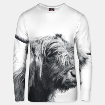 Miniaturka Majestic Highland cow black and white Unisex sweater, Live Heroes