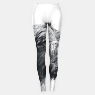 Miniatur Majestic Highland cow black and white Leggings, Live Heroes