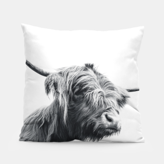 Miniaturka Majestic Highland cow black and white Pillow, Live Heroes