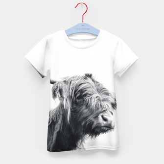 Miniatur Majestic Highland cow black and white Kid's t-shirt, Live Heroes