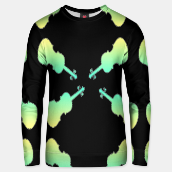 Thumbnail image of Gradient green and yellow violin on black Unisex sweater, Live Heroes