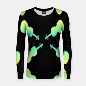 Thumbnail image of Gradient green and yellow violin on black Women sweater, Live Heroes