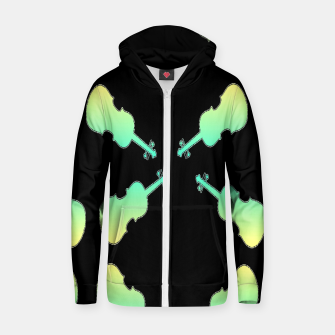 Thumbnail image of Gradient green and yellow violin on black Zip up hoodie, Live Heroes