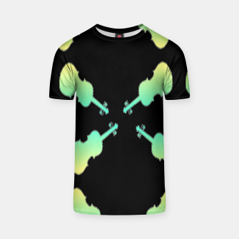 Thumbnail image of Gradient green and yellow violin on black T-shirt, Live Heroes