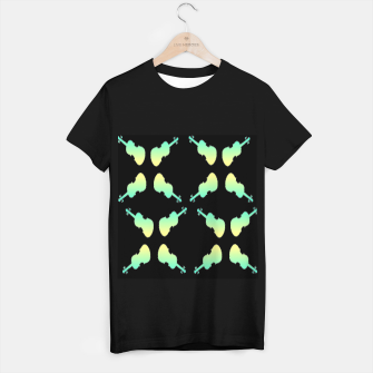 Thumbnail image of Gradient green and yellow violin on black T-shirt regular, Live Heroes