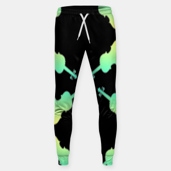 Thumbnail image of Gradient green and yellow violin on black Sweatpants, Live Heroes