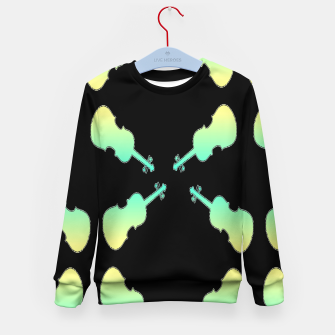 Thumbnail image of Gradient green and yellow violin on black Kid's sweater, Live Heroes