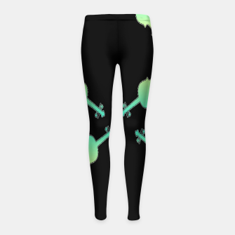 Thumbnail image of Gradient green and yellow violin on black Girl's leggings, Live Heroes