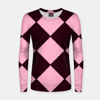 Thumbnail image of Pink and brown diamond shapes Women sweater, Live Heroes