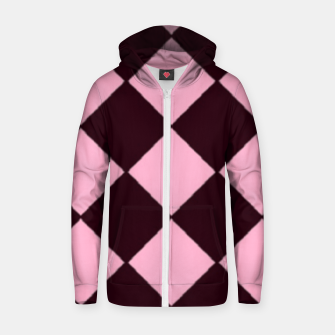 Thumbnail image of Pink and brown diamond shapes Zip up hoodie, Live Heroes