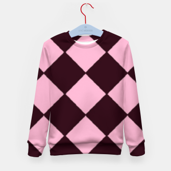 Thumbnail image of Pink and brown diamond shapes Kid's sweater, Live Heroes
