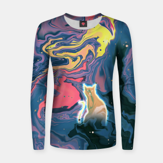 Thumbnail image of Trippy Cat Sunset Women sweater, Live Heroes