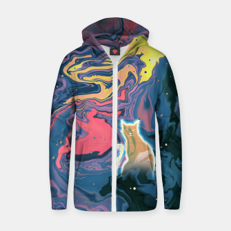 Thumbnail image of Trippy Cat Sunset Zip up hoodie, Live Heroes