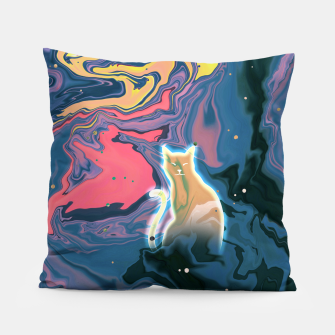 Thumbnail image of Trippy Cat Sunset Pillow, Live Heroes