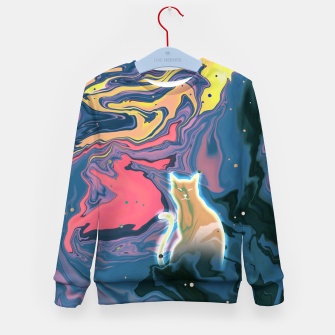 Thumbnail image of Trippy Cat Sunset Kid's sweater, Live Heroes