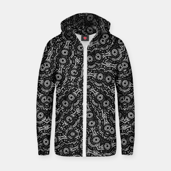 Thumbnail image of Black and White Modern Ornate Pattern Zip up hoodie, Live Heroes